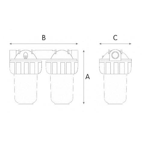 Συσκευή φίλτρου κεντρικής παροχής Junior Duplex 3P7SX 3/4' Atlas