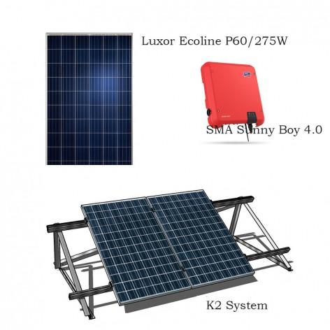 Σύστημα αυτοπαραγωγής (net metering) 3.8 kWp Sma-Luxor με βάση και πίνακες